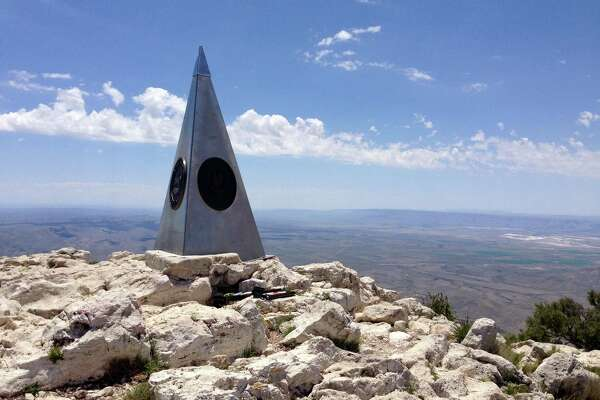 The monument atop Guadalupe Peak, the highest natural point in Texas.