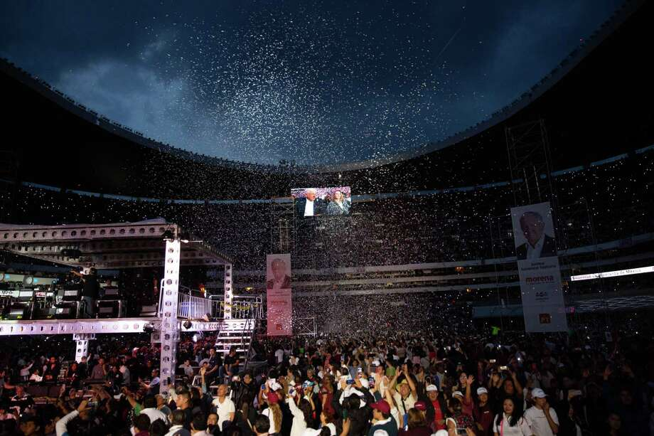 Confetti falls as supporters attend the final campaign rally for Andres Manuel Lopez Obrador, presidential candidate of the National Regeneration Movement Party (MORENA), at the Estadio Azteca in Mexico City, Mexico, on Wednesday, June 27, 2018. Lopez Obrador promises to put the poor first with a raft of new social programs -- and to stand up to the U.S. President, who has been denouncing Mexico since before he got elected. Photographer: Alejandro Cegarra/Bloomberg Photo: Alejandro Cegarra / Bloomberg / © 2018 Bloomberg Finance LP