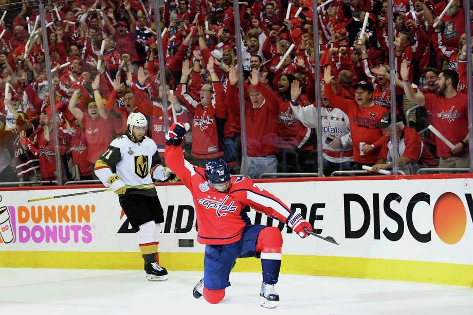 Capitals right wing Devante Smith-Pelly celebrates one of his goals in the playoffs. After signing a contract to return to the capitals, he said he was looking forward to having more influence in the community. Photo: Washington Post Photo by Jonathan Newton / The Washington Post