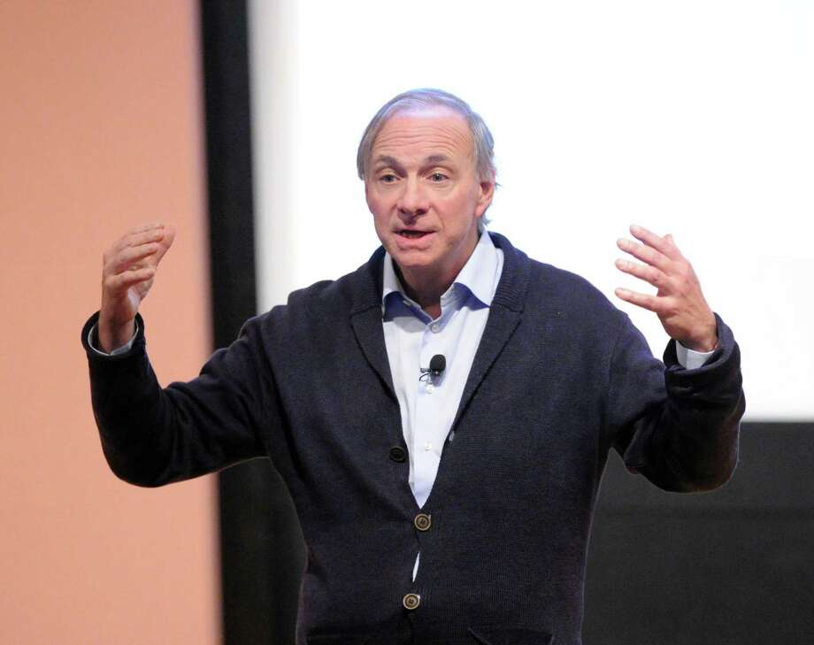"Greenwich resident Ray Dalio, a hedge fund billionaire, speaks about his book ""Principles"" as part of Greenwich Library's authors live speaker series in the Cole Auditorium at the library in Greenwich, Conn., Wednesday night, Dec. 6, 2017. Photo: Bob Luckey Jr. / Hearst Connecticut Media / Greenwich Time"