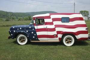 Eric Goff, of Corning, New York, has loved his patriotic 1959 Ford F-series panel truck since he was just six or seven years old. (Photo courtesy of courtesy of Eric Goff)