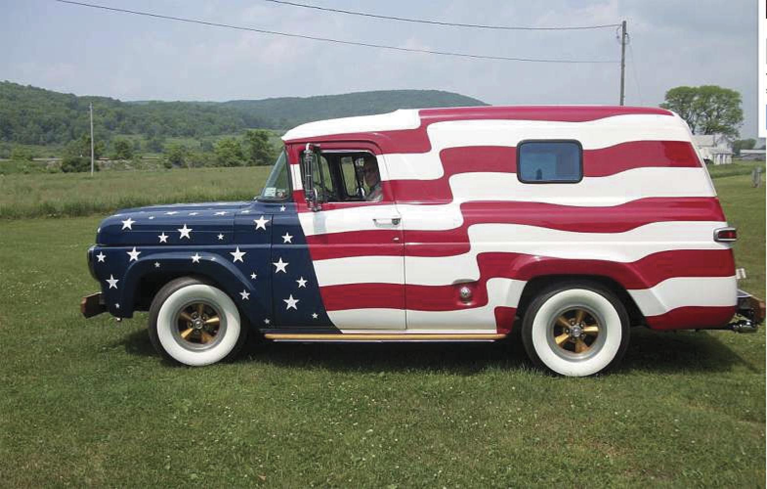 Patriotic Ford panel truck shines at Independence Day parades
