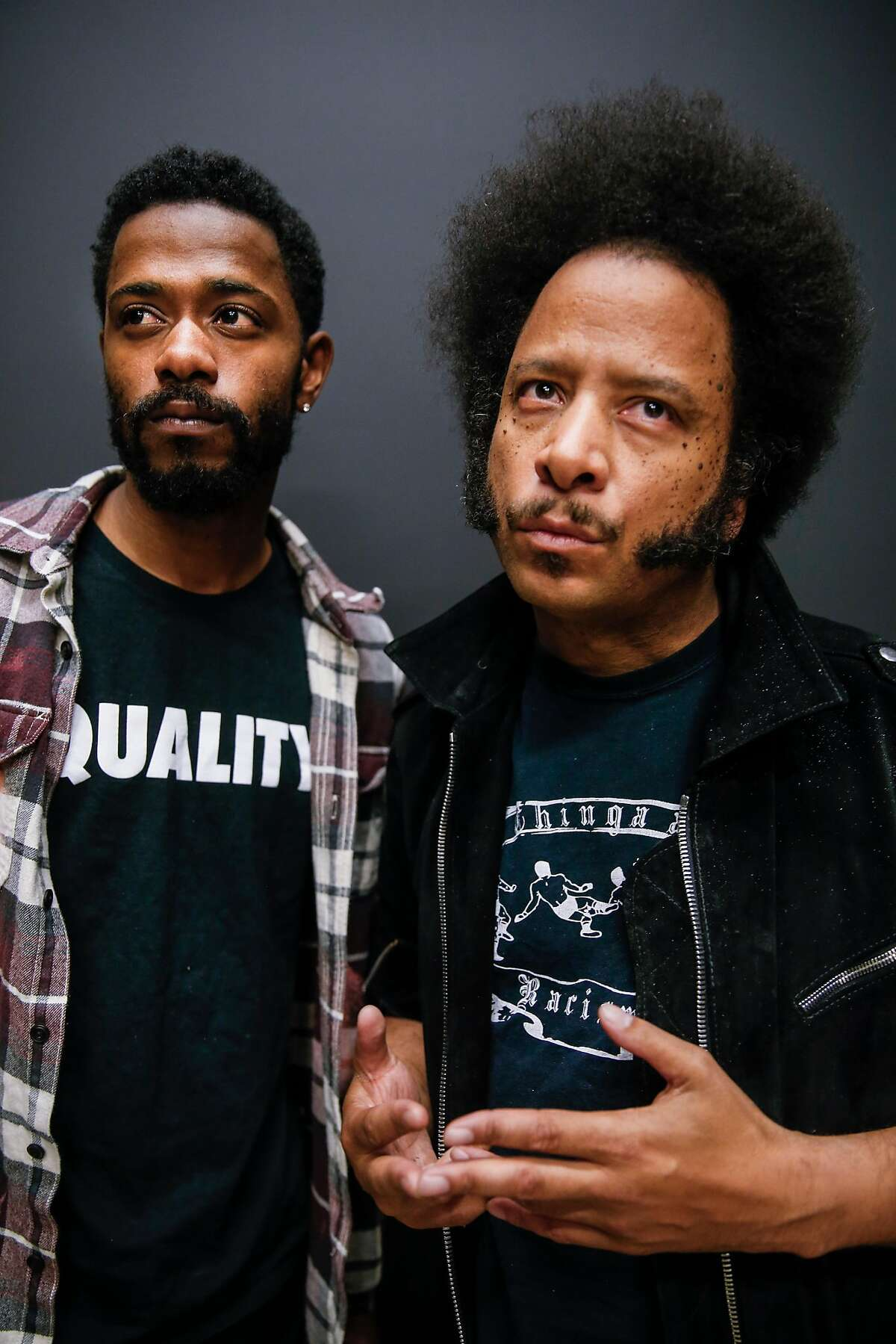 """Lakeith Stanfield, star of the film, """"Sorry to Bother You,"""" and director Boots Riley are seen on Tuesday, June 26, 2018 in San Francisco, Calif."""