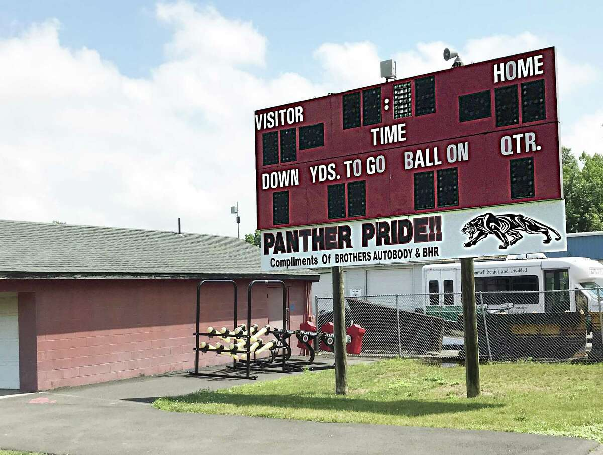 The football field at Pierson Park in Cromwell will soon be home to a brand new $65,000 scoreboard, which is also expected to be used to show movies outdoors.