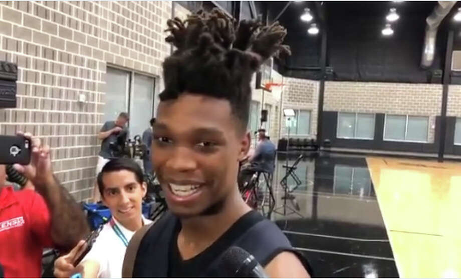 Spurs rookie Lonnie Walker IV meets with media at the team's practice facility Friday, June 29, 2018. Photo: Jabari Young/San Antonio Express-News