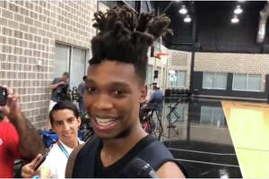 Spurs rookie Lonnie Walker IV meets with media at the team's practice facility Friday, June 29, 2018.