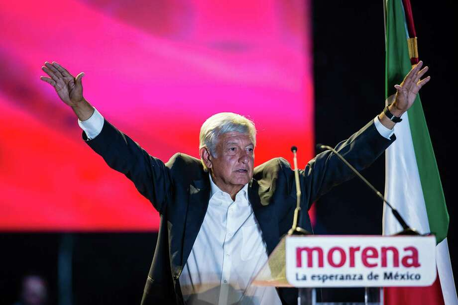 Presidential candidate Andres Manuel Lopez Obrador delivers a speech during the final event of the 2018 Presidential Campaign at Azteca Stadium on June 27, 2018 in Mexico City, Mexico. With the presidency all but in his grasp, he has recently softened his tone toward energy companies, raising questions of how far the populist leader is willing to go on his promise to shake up the country's energy sector — again — and rollback market reforms that essentially ended 75 years of state control of oil, gas and fuel production. Photo: Manuel Velasquez /Getty Images / 2018 Getty Images