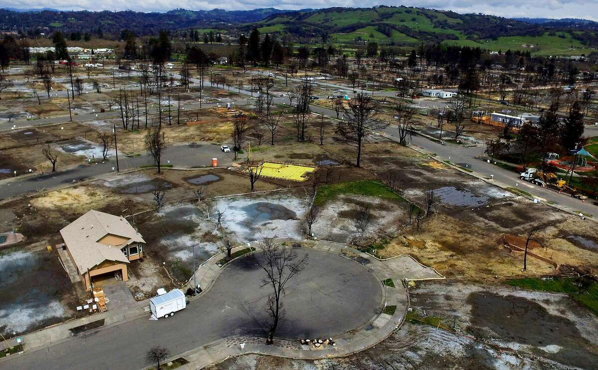 The first house built in the Coffey Park neighborhood after a wildfire is seen at 1613 Kerry Lane on Sunday, March 18, 2018, in Santa Rosa, Calif. The neighborhood was devastated by the Tubbs Fire.