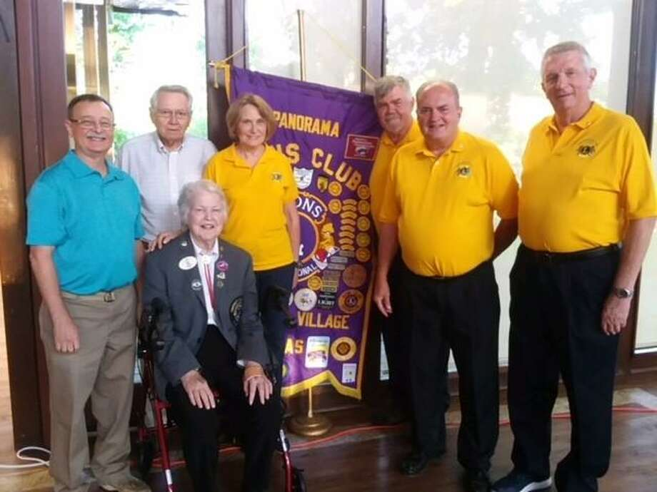New officers for the Panorama Lions Club were installed recently. Betty Ezell, District 2S2 Governor (seated) led the ceremony. From left to right, Rich Broome, treasurer, Max Martensen, Lion Tamer, Judy Trosvig, Vice President, Royce Engler, president, Bob Lamons, membership chair, and Jim Modeland, Tail Twister. Sharon Aurich, secretary, was not present. Photo: Courtesy Photo