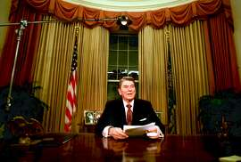** FILE ** Departing U.S. President Ronald Reagan is seen shortly after he delivered his farewell address to the nation at the Oval Office in the White House, Washington, on January 12, 1989. Reagan died Saturday, June 5, 2004 at his home in California, according to a friend, who spoke on condition of anonymity. He was 93. (AP Photo/Ron Edmonds)