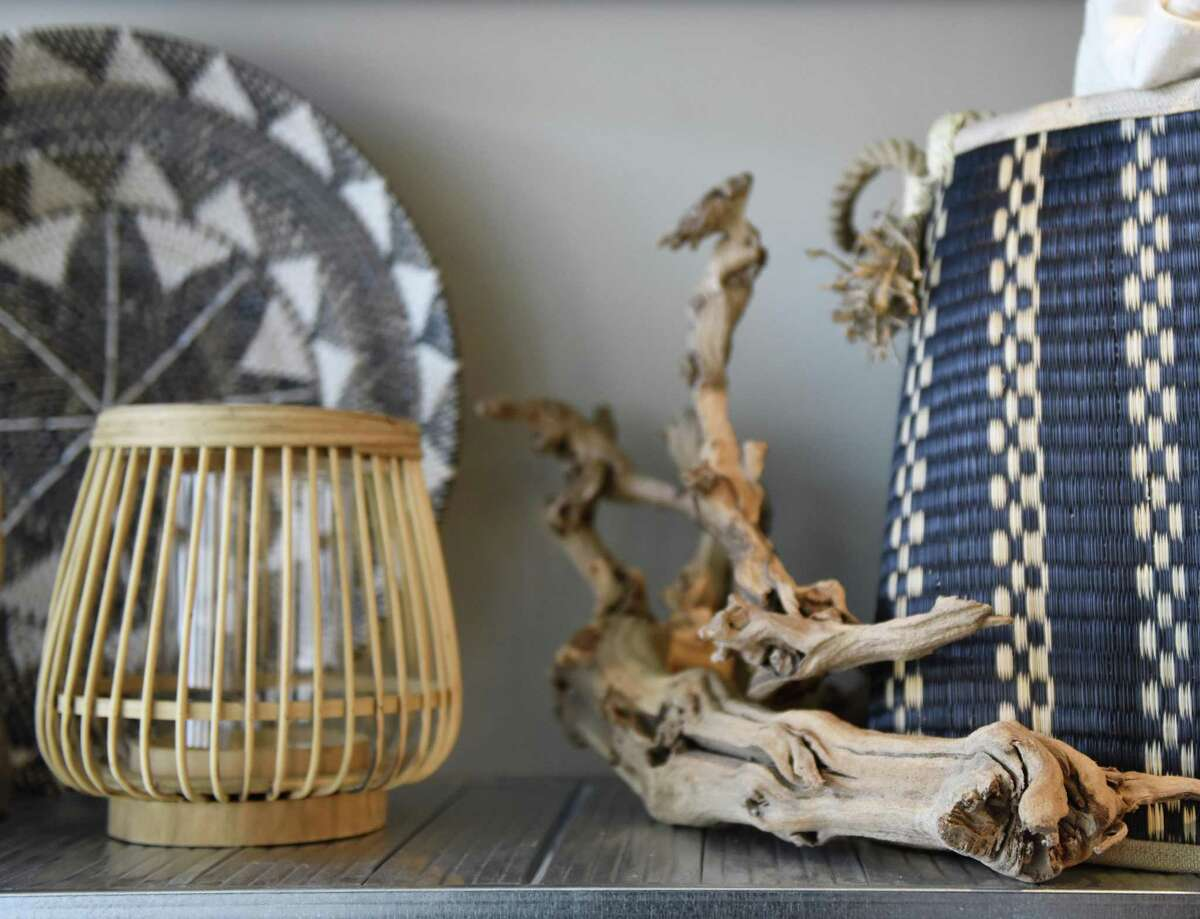 Decorative items are displayed at Habitat Greenwich interior design store in the Cos Cob section of Greenwich, Conn. Tuesday, June 26, 2018. The shop, which will have its soft opening Saturday, June 30, features a variety of interior pieces from near and far, many of which are made by fair trade small businesses.
