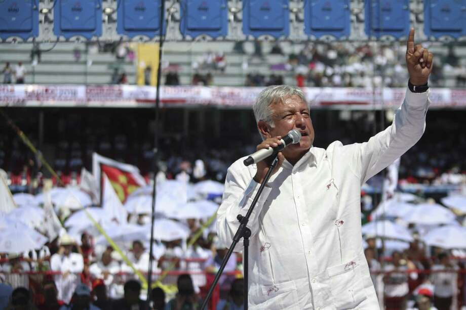 Mexico's presidential candidate Andres Manuel Lopez Obrador of the MORENA party delivers a speech during a campaign rally in Veracruz, Mexico, June 23. Lopez Obrador has led opinion polls since the beginning of the campaign. Photo: Felix Marquez /Associated Press / Copyright 2018 The Associated Press. All rights reserved