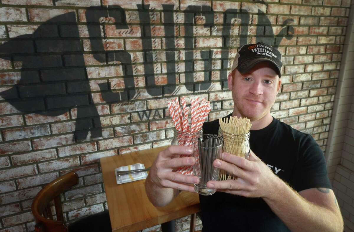Bar Sugo owner Adam Roytman is partnering with Skip the Plastic Norwalk, a new group formed to reduce single-stream plastic, at his restaurant with plastic free straw options Wednesday, June 27, 2018, in Norwalk, Conn. Skip the Plastic Norwalk, who hopes to reduce plastic pollution and harm to wildlife, is kicking off the summer with a campaign, Skip the Straw.