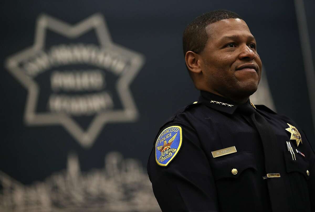 SAN FRANCISCO, CA - MAY 15: San Francisco police chief Bill Scott looks on during a news conference at the San Francisco Police Academy on May 15, 2018 in San Francisco, California.