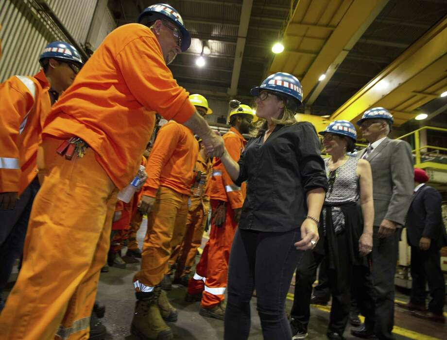 Chrystia Freeland, Canada's Minister of Foreign Affairs, meets with employees during her visit to Stelco in Hamilton, Ontario, Friday, June 29, 2018. Canada announced billions of dollars in retaliatory tariffs against the U.S. on Friday in a tit for tat response to the Trump administration's duties on Canadian steel and aluminum. Photo: Peter Power /Associated Press / The Canadian Press