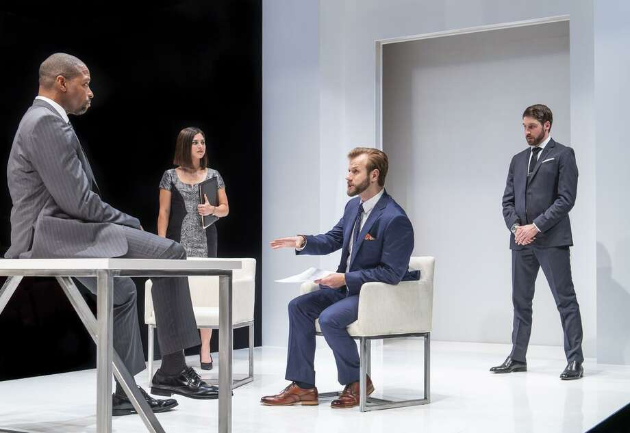 Aldo Billingslea (left), Emily Jeanne Brown, Kevin Kemp and Jeremy Kahn appear in Aurora Theatre Company's play set in the world of high finance. Photo: David Allen / Aurora Theatre Company / (c) 2017 DavidAllenStudio.com