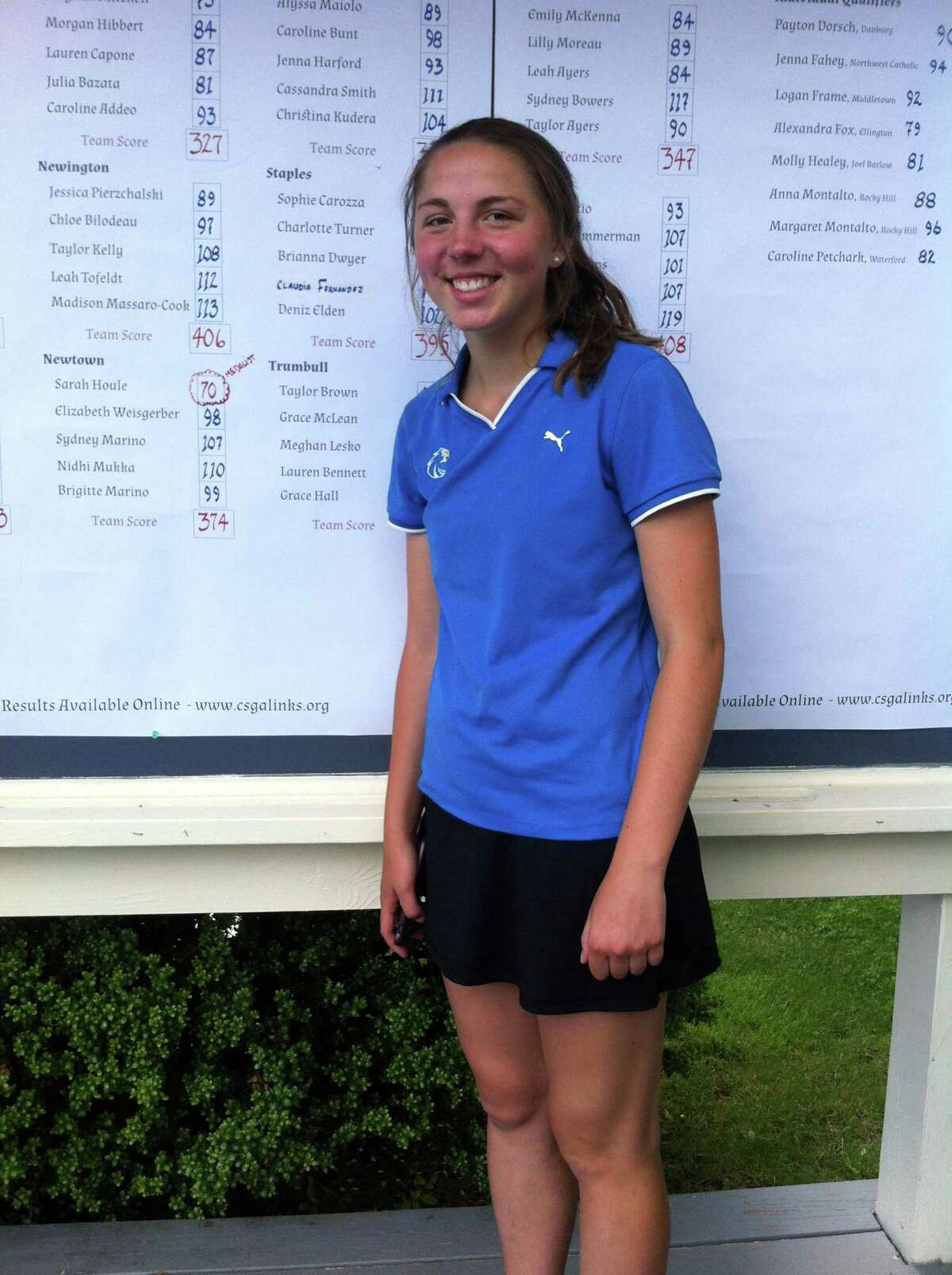Sarah Houle of Newtown was the medalist at the CIAC girls golf championship on Tuesday, June 5, 2018 at Tashua Knolls Golf Club in Trumbull, Conn. Houle shot a 2-under par 70.