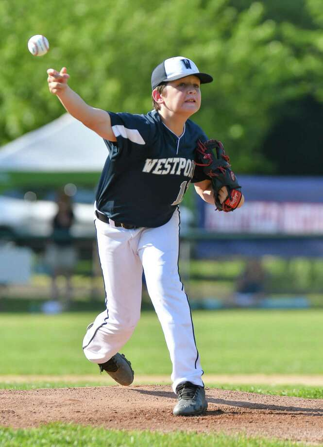 Andrew Hess (11) of Westport delivers a pitch during a District 2 Little League game against Fairfield National on Friday June 29, 2018 at Unity Park in Trumbull, Connecticut. Photo: Gregory Vasil / For Hearst Connecticut Media / Connecticut Post Freelance