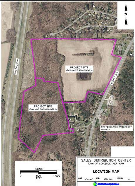 The proposed Amazon site is between Route 9 and I-90 in Scodack. The Birchwood Estates neighborhood is at the top of the proposed site. Photo: Scannell Properties