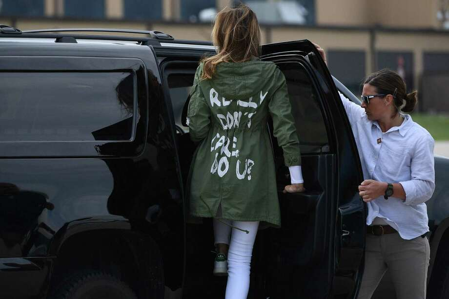 "PHOTOS: Melania Trump's most talked-about outfitsUS First Lady Melania Trump departs Andrews Air Rorce Base in Maryland June 21, 2018 wearing a jacket emblazoned with the words ""I really don't care, do you?"" following her surprise visit with child migrants on the US-Mexico border.  >>>See more of the first lady's most talked-about outfits ... Photo: MANDEL NGAN, Contributor / AFP/Getty Images / AFP or licensors"