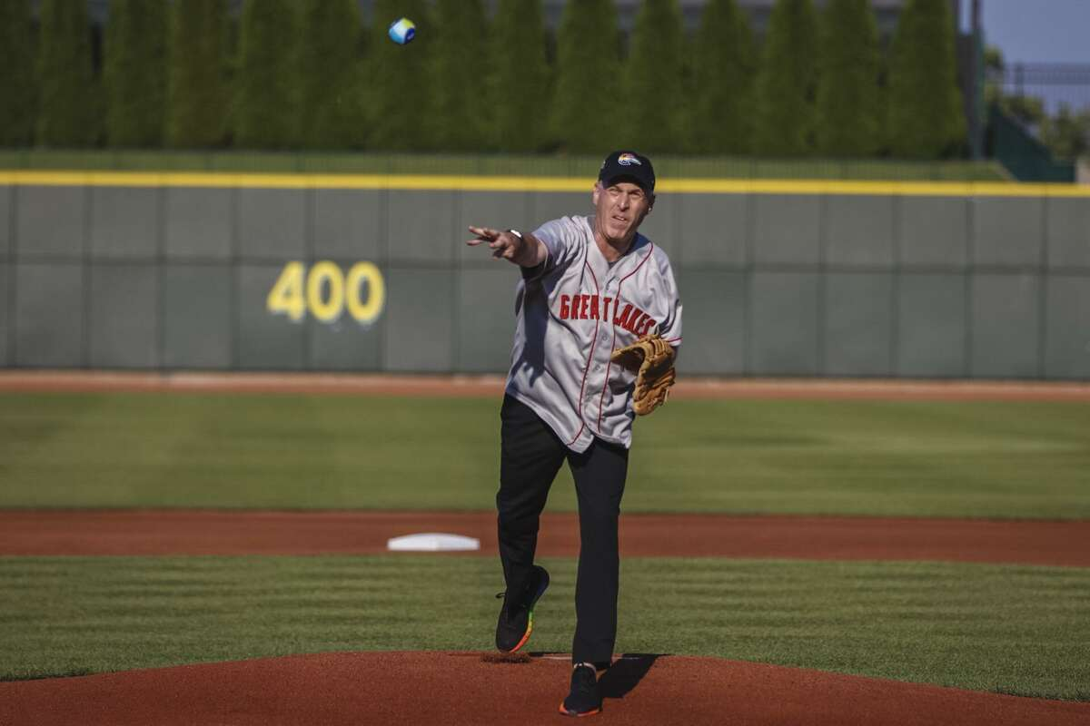 Dow CEO elect Jim Fitterling threw the first pitch Friday, June 29 before the Great Lakes Loons played the Lansing Lugnuts at the Dow Diamond, which hosted the second annual Pride Night.