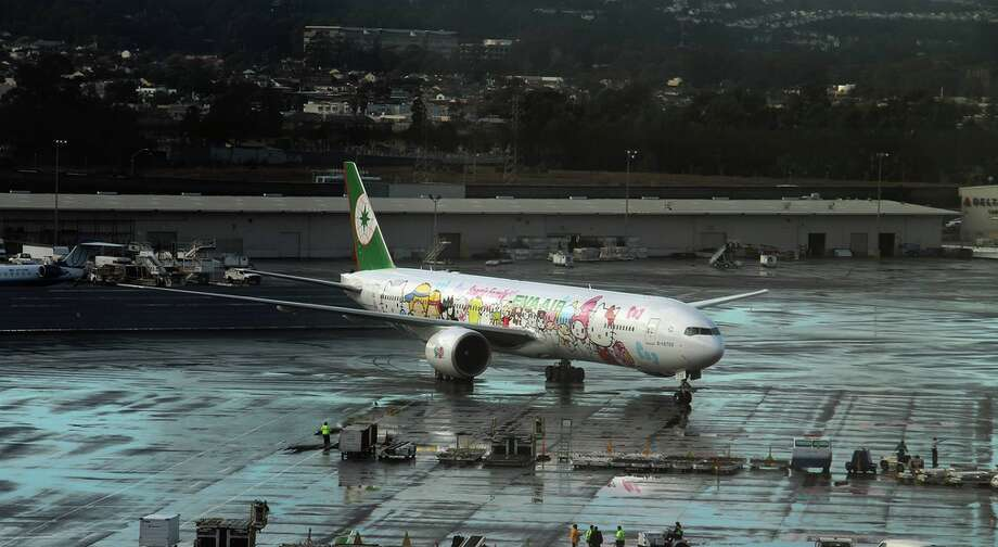 EVA Air's Hello Kitty themed plane at SFO. Photo: SFO Facebook
