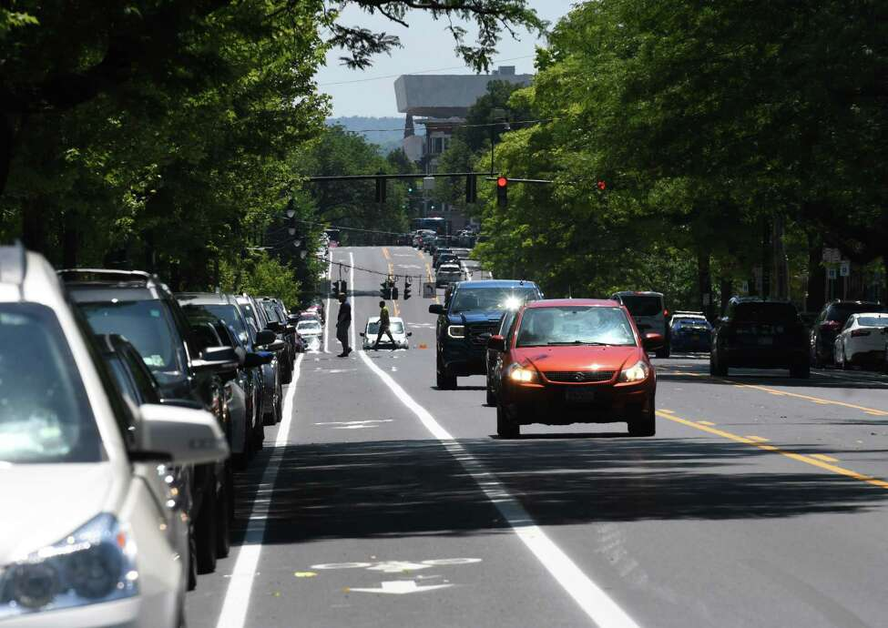 View looking down Madison Ave. from S. Lake showing the repaved road and updated traffic lanes on Friday, June 29, 2018, in Albany, N.Y. Mayor Kathy Sheehan held a press conference to highlight the completion of the major components of the second and final phase of the Madison Avenue Street Calming project. (Will Waldron/Times Union)