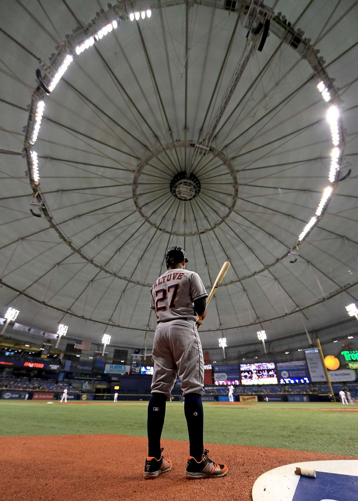 ST PETERSBURG, FL - JUNE 29: Jose Altuve #27 of the Houston Astros looks on during a game against the Tampa Bay Rays at Tropicana Field on June 29, 2018 in St Petersburg, Florida. (Photo by Mike Ehrmann/Getty Images)