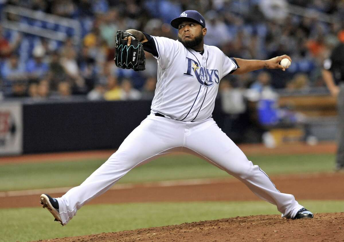 Tampa Bay Rays reliever Jose Alvarado pitches to Houston Astros' Marwin Gonzalez for the final out of a 3-2 win in a baseball game Friday, June 29, 2018, in St. Petersburg, Fla. (AP Photo/Steve Nesius)