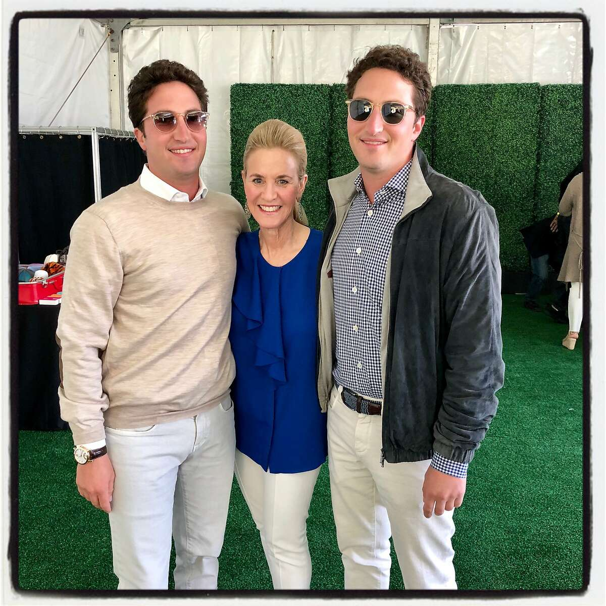 Lisa Goldman with her sons, both Stern Grove Festival trustees Matthew (left) and Jason Goldman at the Big Picnic. June 24, 2018.