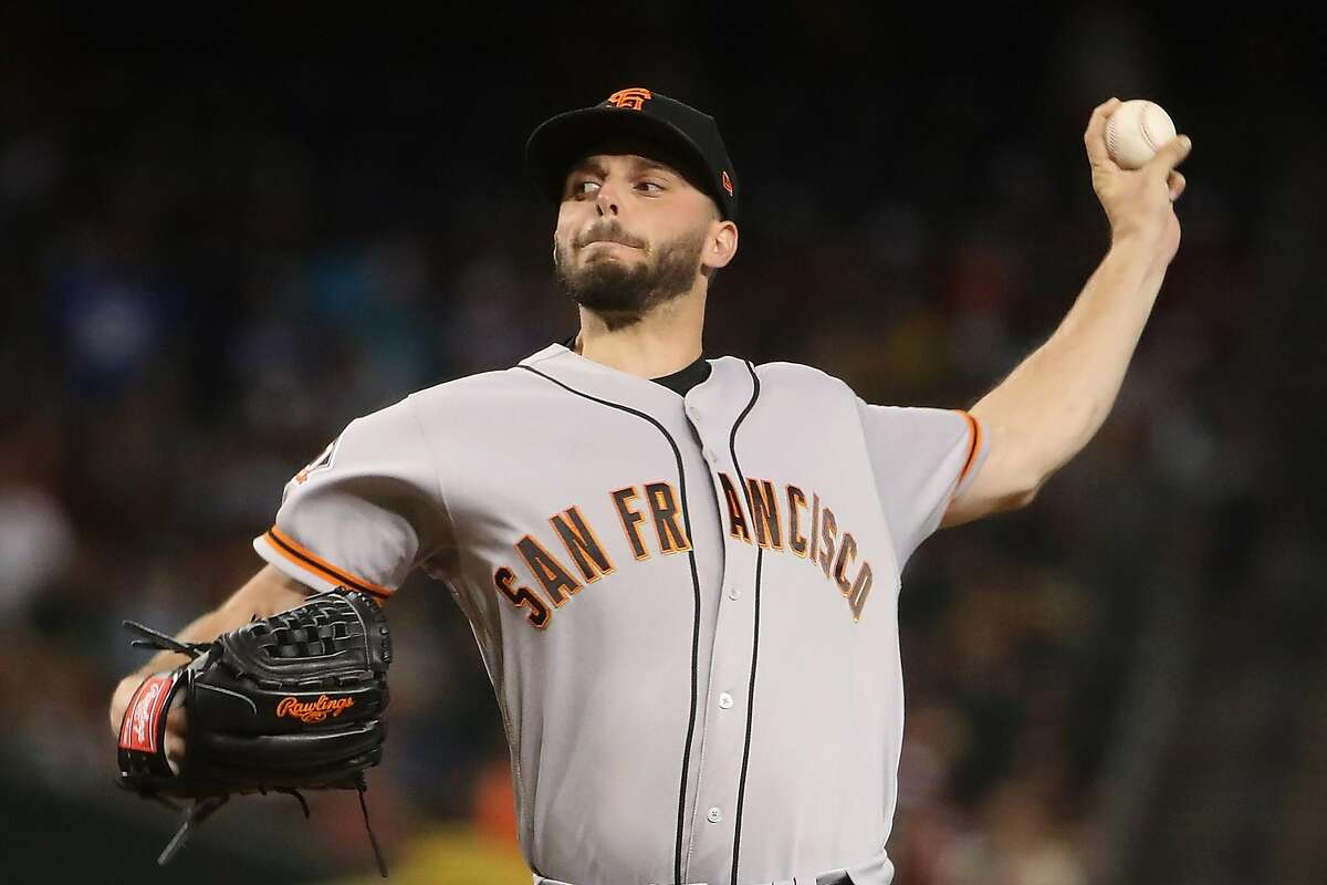 PHOENIX, AZ - JUNE 29: Starting pitcher Andrew Suarez #59 of the San Francisco Giants pitches against the Arizona Diamondbacks during the first inning of the MLB game at Chase Field on June 29, 2018 in Phoenix, Arizona. (Photo by Christian Petersen/Getty Images)