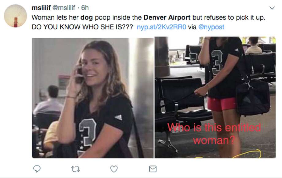 A number of Twitter users were outraged after a woman let her dog defecate in an airport terminal. Photo: Twitter