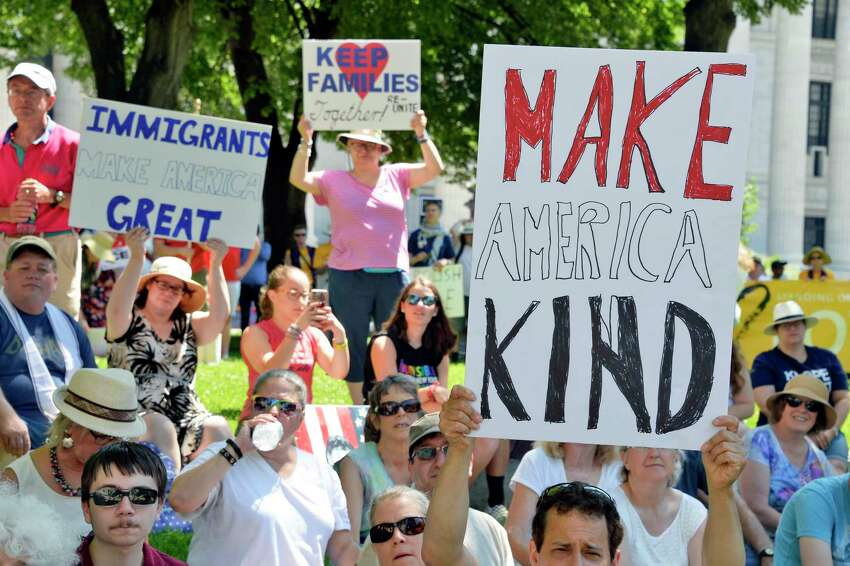 Demonstrators at the People for the American Way's nationwide day of protest against the Trump administration?•s treatment of immigrants at the Capitol Saturday June 30, 2018 in Albany, NY. (John Carl D'Annibale/Times Union)