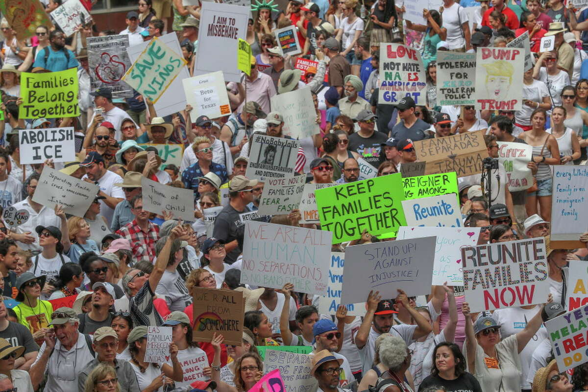 """An immigration rally was held on the steps to City Hall followed by a march to Sen. Ted Cruz's office Saturday, June 30, 2018, in Houston. The rally was part of a nationwide protest calling on federal agencies to reunite families separated at the border under Trump's """"zero tolerance"""" policy, as well as calling for the abolishment of ICE."""