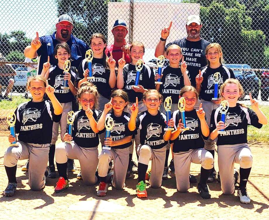 The New England Total Energy Panthers won the NAA Division 1 softball championship last week with a 9-1 win. From left, front row: Madison O'Brien, Devon Emmet, Gia Ventrella, Christa Gasparino, Gabi Gutierrez and Isla Cunniffe; middle row: Mia Botelho, Madison Collins, Sydney Raleigh, Cami Baker, Rylee Donohue; back row: coaches Shawn Collins, Matt O'Brien and Mike Raleigh. Photo: Contributed Photo