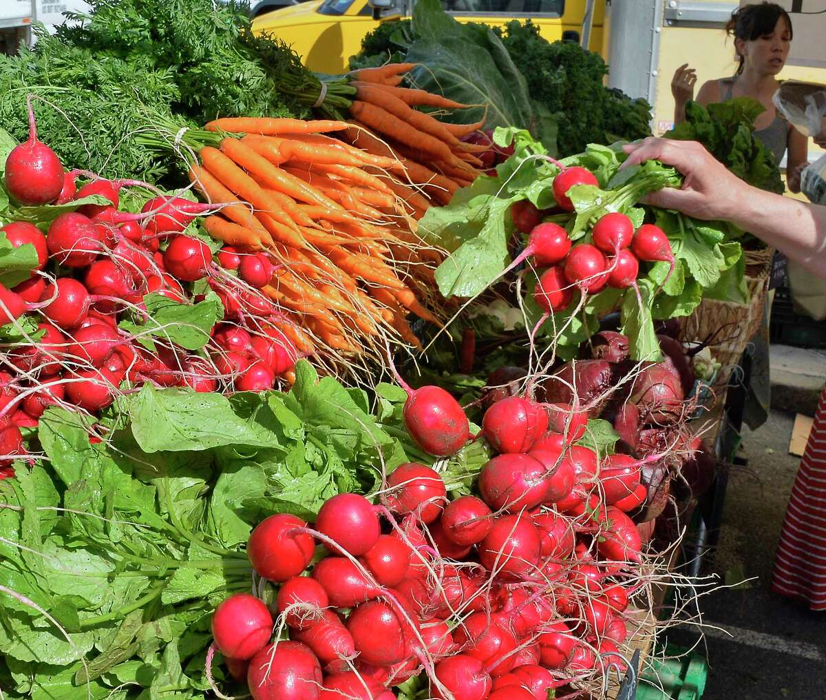 Fresh organic produce at the Denison Farm stand at the Troy Farmer's and Maker's Markets Saturday June 30, 2018 in Troy, NY. (John Carl D'Annibale/Times Union)