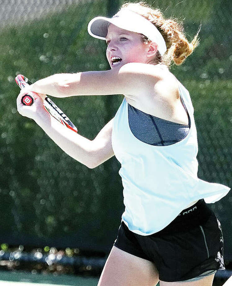 Top-seeded Janelle Wilson of Godfrey successfully defended No. 2 seed Lauren Hambrock 6-4, 6-4 to win the Women's Open title at the Alton Open Tennis Tournament.