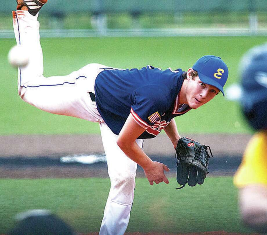 Post 199 pitcher Zach Seavers scattered three hits, struck out five and walked two in a 2-0 victory over Quincy Saturday in a Firecracker Classic game at Jerseyville. Photo:       Telegraph File Poto