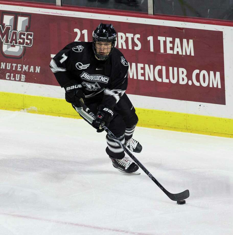 AMHERST, MA - NOVEMBER 9: Ben Mirageas #7 of the Providence College Friars skates against the Massachusetts Minutemen during NCAA hockey at the Mullins Center on November 9, 2017 in Amherst, Massachusetts. Massachusetts won 5-2. (Photo by Richard T Gagnon/Getty Images) Photo: Richard T Gagnon / Getty Images / 2017 Richard T Gagnon