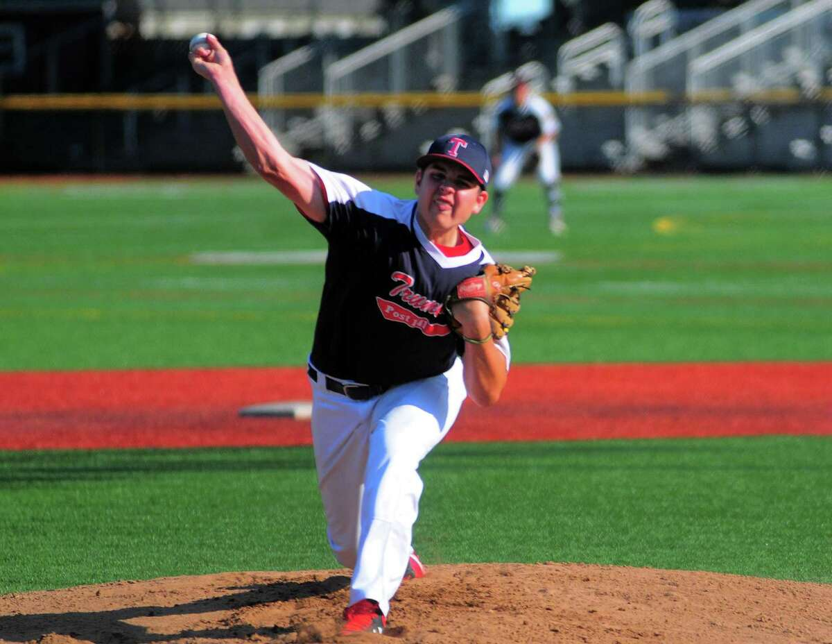 Trumbull's Daniel Keckler pitches against Stratford during American Legion action at Penders Field in Stratford on July 18.