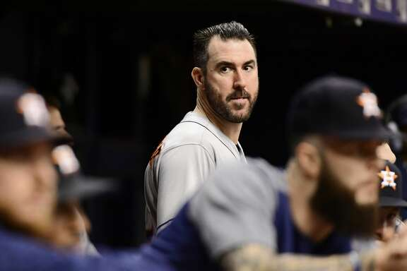 ST PETERSBURG, FL - JUNE 30: Justin Verlander #35 of the Houston Astros looks on during the sixth inning against the Tampa Bay Rays on June 30, 2018 at  Tropicana Field in St Petersburg, Florida. (Photo by Julio Aguilar/Getty Images)
