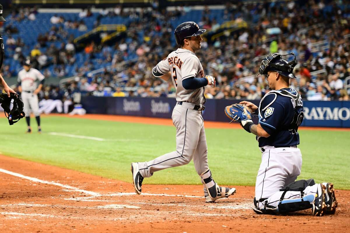 ST PETERSBURG, FL - JUNE 30: Alex Bregman #2 of the Houston Astros scores after hitting a 2-run homer in the sixth inning against the Tampa Bay Rays on June 30, 2018 at Tropicana Field in St Petersburg, Florida. (Photo by Julio Aguilar/Getty Images)