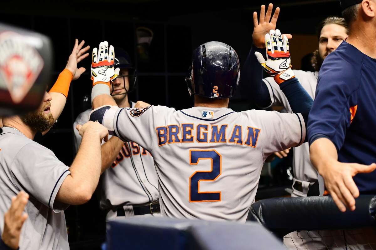 ST PETERSBURG, FL - JUNE 30: Alex Bregman #2 of the Houston Astros celebrates after hitting a homer in the sixth inning against the Tampa Bay Rays on June 30, 2018 at Tropicana Field in St Petersburg, Florida. (Photo by Julio Aguilar/Getty Images)