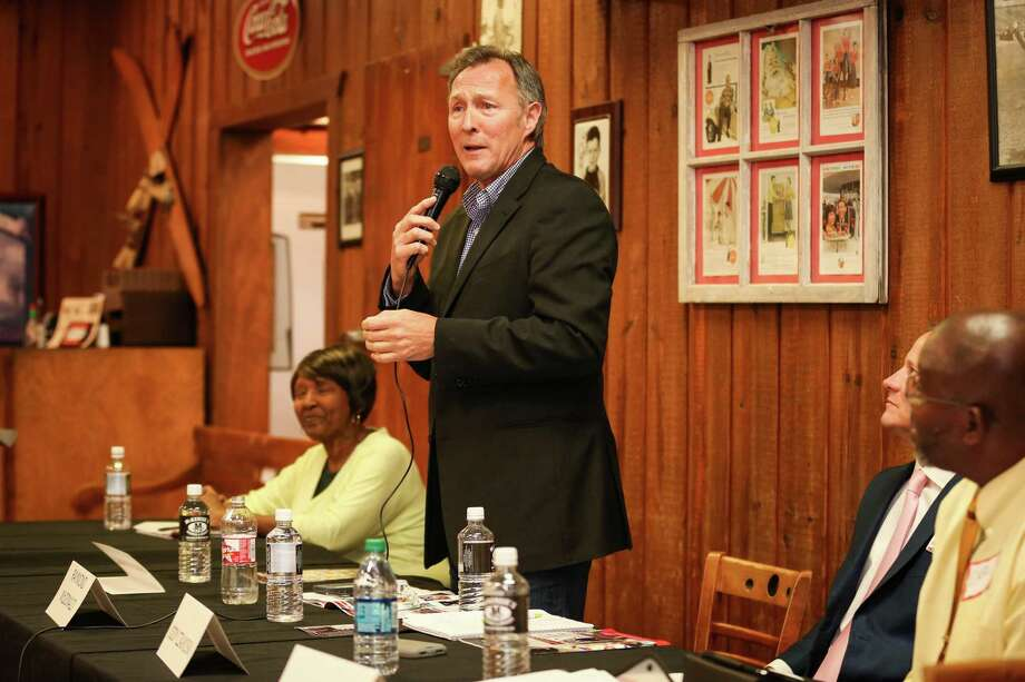 Raymond McDonald, candidate for Conroe City Council Place 4, speaks during the forum sponsored by the Greater Conroe Arts Alliance on Monday, April 9, 2018, at McKenzie's Barbeque. Photo: Michael Minasi, Staff Photographer / Houston Chronicle / © 2018 Houston Chronicle