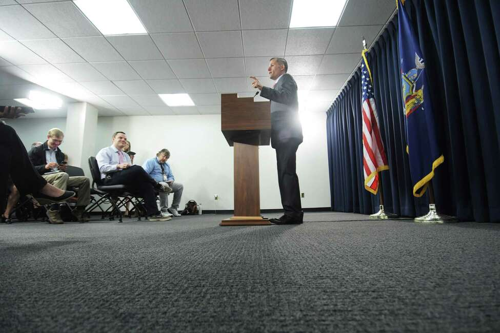 Republican candidate for New York State Governor, Marc Molinaro, holds a press conference at the Legislative Office Building on Thursday, June 7, 2018, in Albany, N.Y. (Paul Buckowski/Times Union)