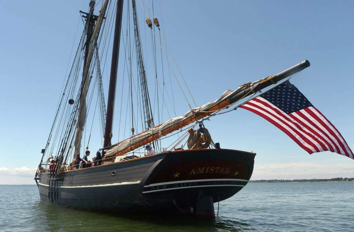 The replica of the Spanish Schooner the Amistad sits moored off Sheffield Island Wednesday, July 26, 2017, in Norwalk, Conn. The Amistad was a schooner made famous by its slave revolt made by Mende captives in 1839. The African captives seized control of the ship, killing some of the crew and ordering the survivors to sail the ship to Africa. However, the surviving crew steered the Amistad north and it was ultimately captured off the coast of Long Island. The ship and slaves were interned in Connecticut. The Amistad owners claimed the slaves as property, but the U.S. had banned African trade and argued that the captives were legally free. The case, United States v. The Amistad gained international intrigue, and was ultimately decided on in favor of the Mende by the Supreme Court.