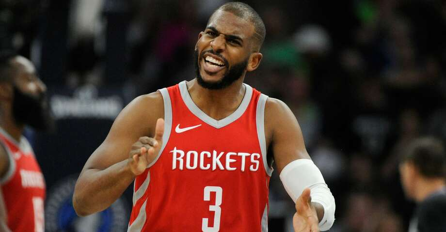 MINNEAPOLIS, MN - APRIL 23: Chris Paul #3 of the Houston Rockets celebrates during the third quarter of Game Four of Round One of the 2018 NBA Playoffs against the Minnesota Timberwolves on April 23, 2018 at the Target Center in Minneapolis, Minnesota. The Rockets defeated the Timberwolves 119-100. NOTE TO USER: User expressly acknowledges and agrees that, by downloading and or using this Photograph, user is consenting to the terms and conditions of the Getty Images License Agreement. (Photo by Hannah Foslien/Getty Images) Photo: Hannah Foslien/Getty Images