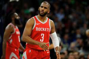 MINNEAPOLIS, MN - APRIL 23: Chris Paul #3 of the Houston Rockets reacts to a play against the Minnesota Timberwolves in Game Four of Round One of the 2018 NBA Playoffs on April 23, 2018 at the Target Center in Minneapolis, Minnesota. The Rockets defeated the Timberwolves 119-100. NOTE TO USER: User expressly acknowledges and agrees that, by downloading and or using this Photograph, user is consenting to the terms and conditions of the Getty Images License Agreement. (Photo by Hannah Foslien/Getty Images)