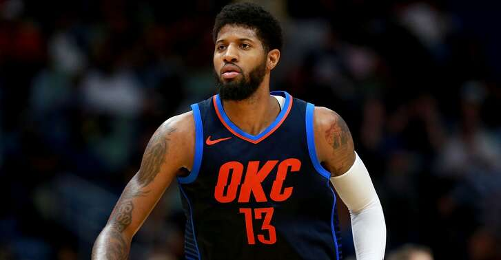 NEW ORLEANS, LA - APRIL 01:  Paul George #13 of the Oklahoma City Thunder stands on the court during the first half of a NBA game against the New Orleans Pelicans at the Smoothie King Center on April 1, 2018 in New Orleans, Louisiana. NOTE TO USER: User expressly acknowledges and agrees that, by downloading and or using this photograph, User is consenting to the terms and conditions of the Getty Images License Agreement.  (Photo by Sean Gardner/Getty Images)