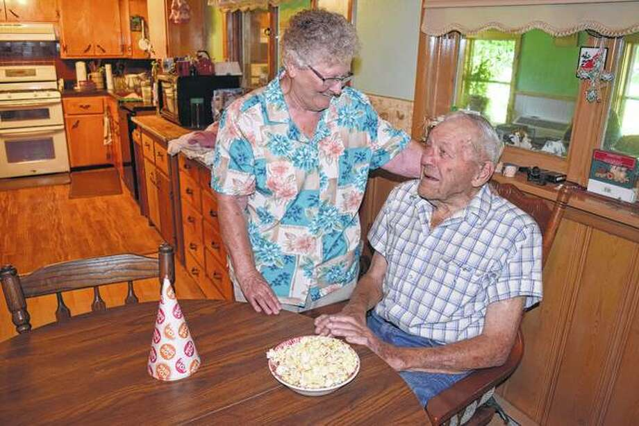 Don and Anna Mae Roberts in their Greenfield home. Photo:       Greg Olson | Journal-Courier